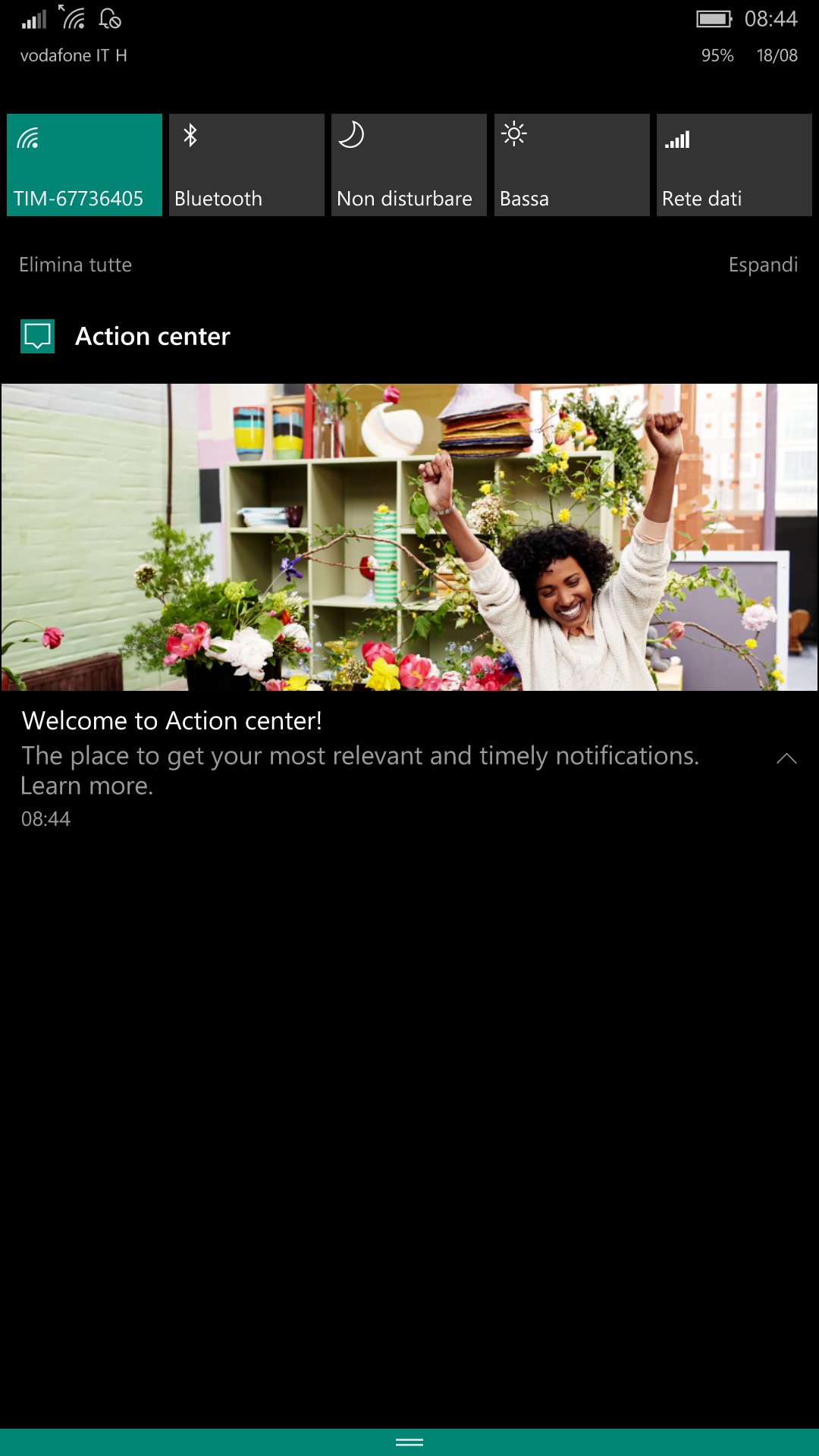 Centro notifiche - Windows 10 Mobile Build 14905