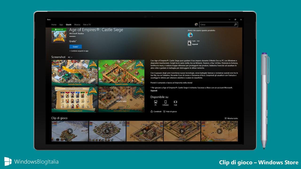 Clip di gioco - Windows Store