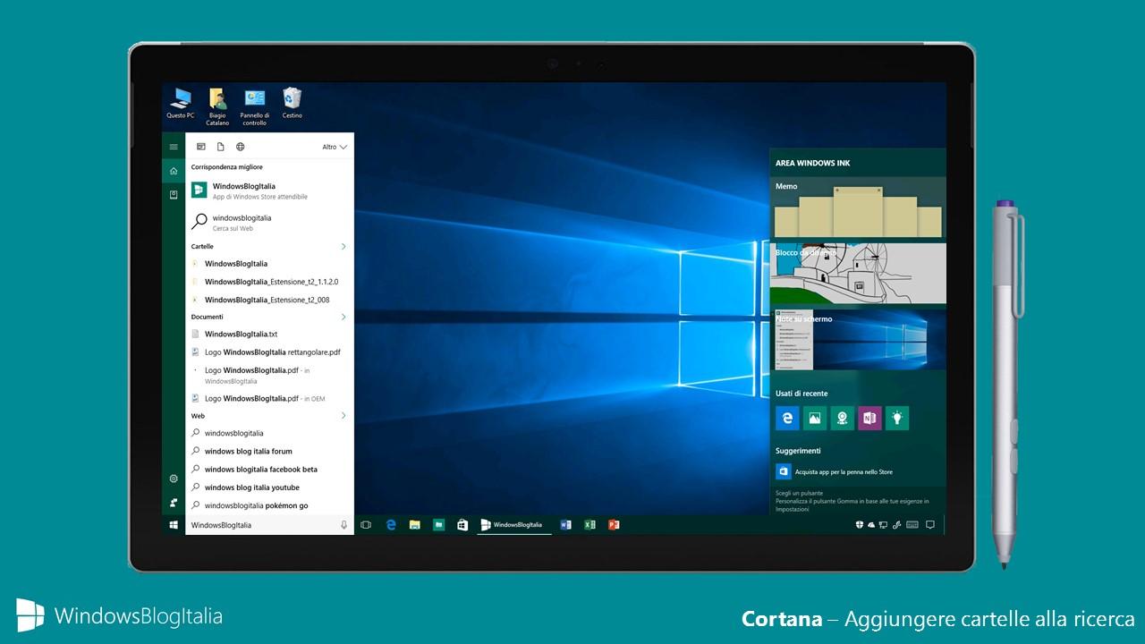 Cortana - Aggiungere cartelle alla ricerca