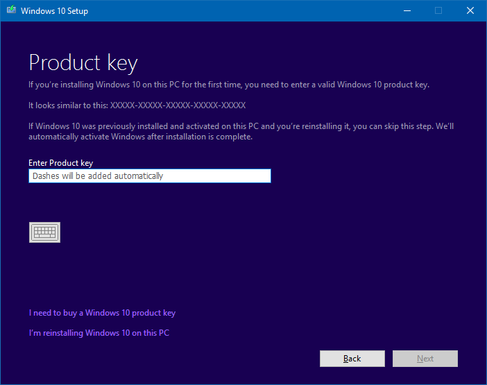 Installer Windows 10 build 14901