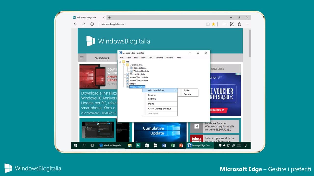 Microsoft Edge - Gestire i preferiti
