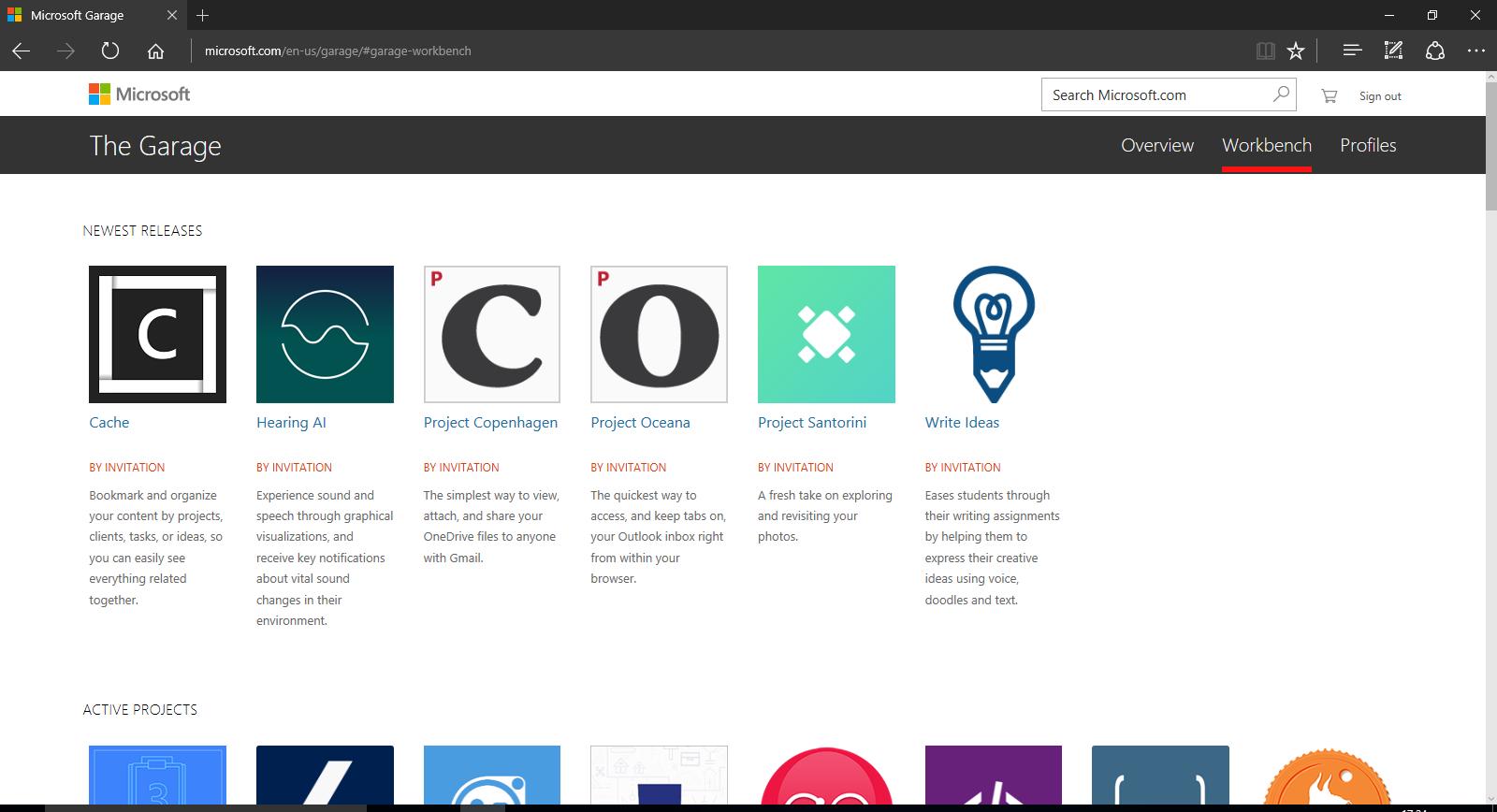 Microsoft Garage - Nuovi progetti agosto 2016