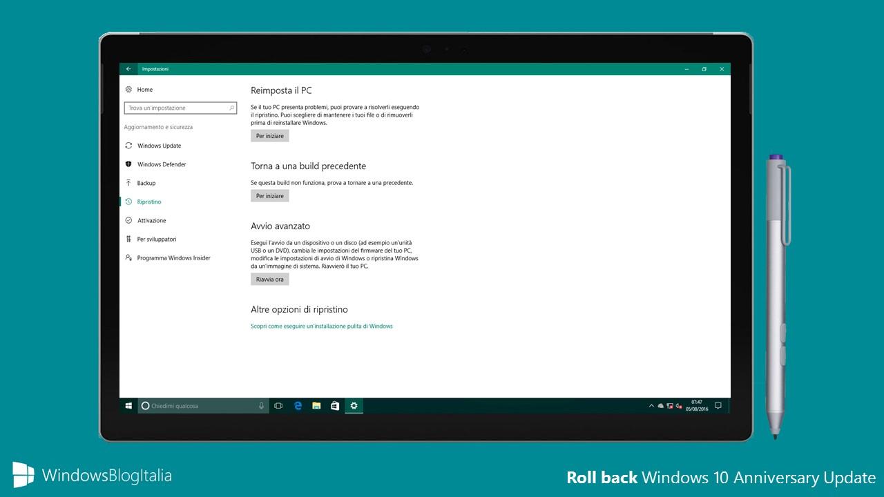 Roll back Windows 10 Anniversary Update