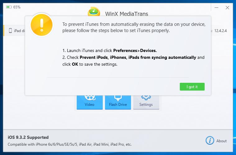 WinX MediaTrans - Avviso configurazione iTunes