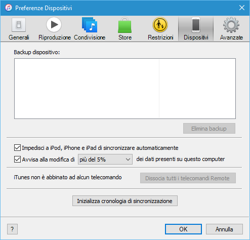WinX MediaTrans - Schermata Preferenze Dispositivi iTunes
