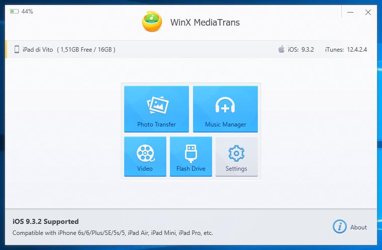 WinX MediaTrans - Schermata Principale