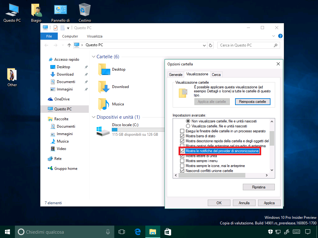 Windows 10 Build 14901 - Esplora file