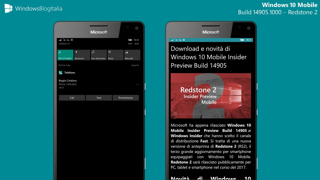 Windows 10 Mobile - Build 14905 - Redstone 2