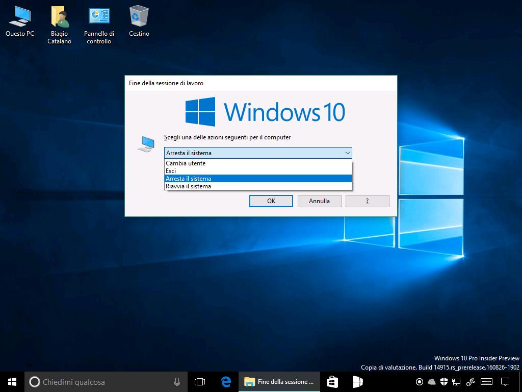 Fine della sessione di lavoro - Arresta il sistema - spegnere PC e tablet
