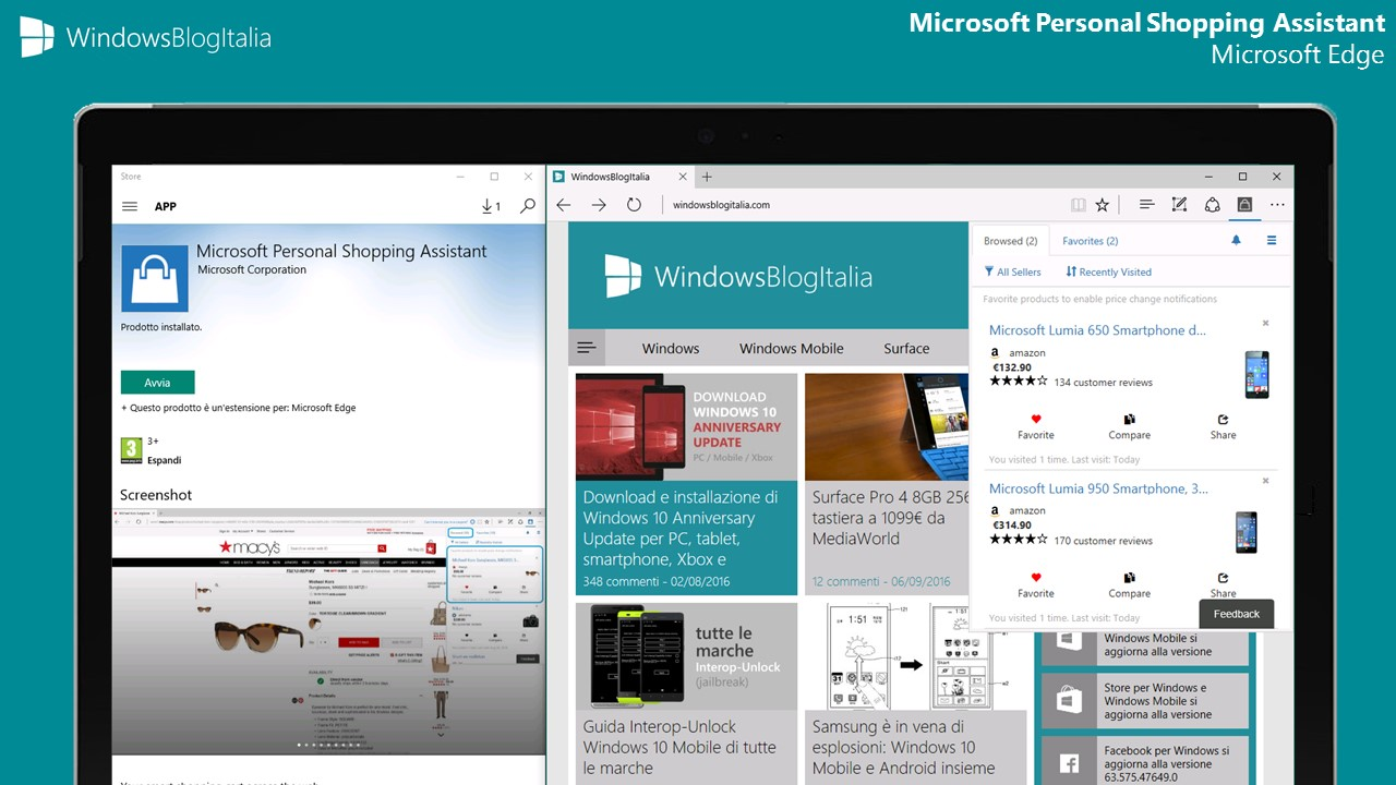 Microsoft Personal Shopping Assistant per Microsoft Edge