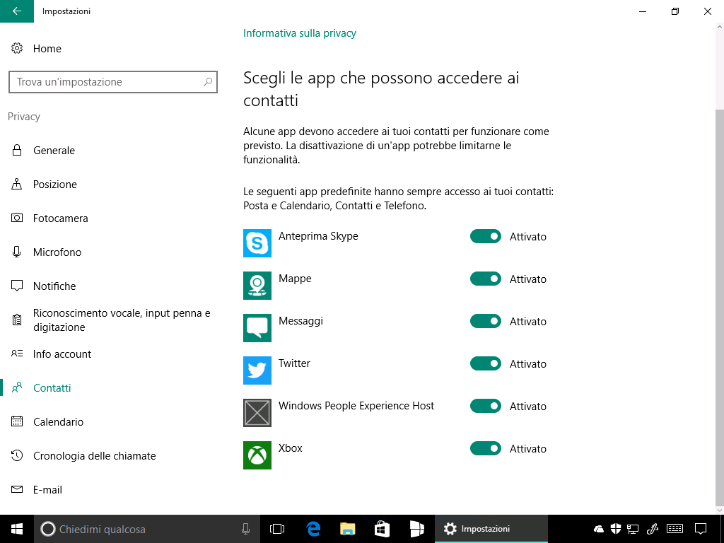 PeopleBar Impostazioni - Windows 10 Build 14915