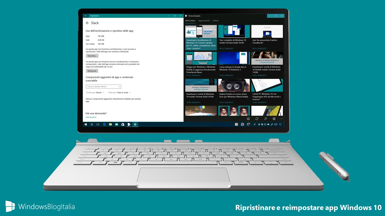 Ripristinare app - Windows 10