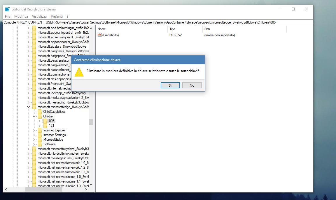 Regedit Microsoft Edge