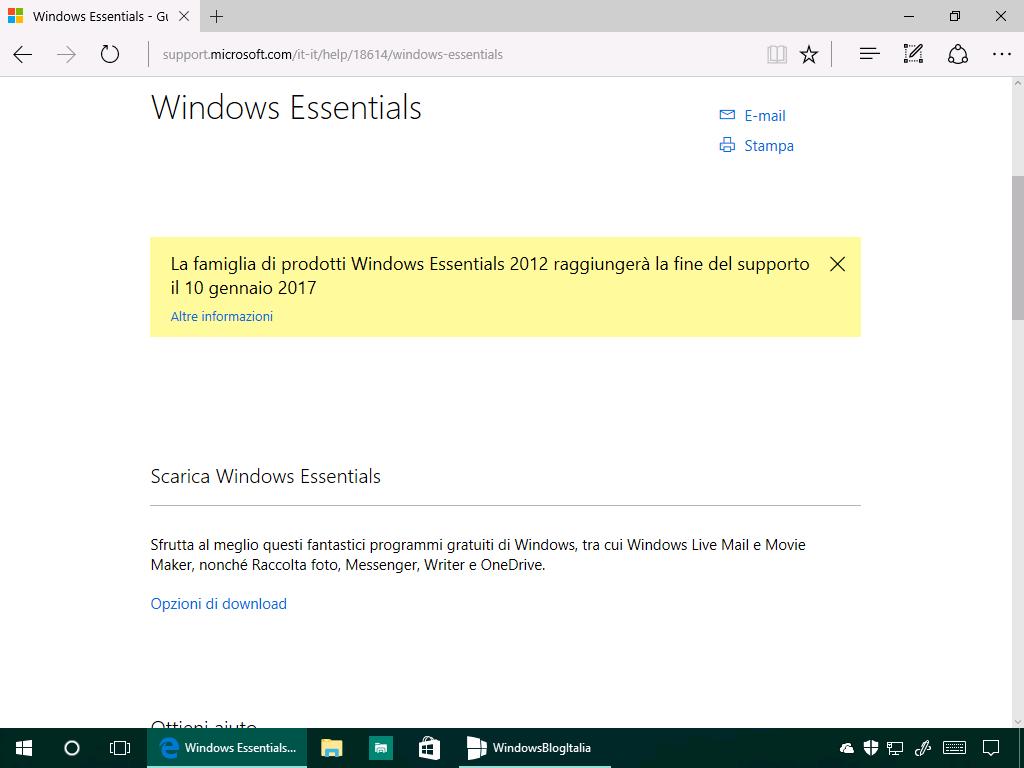 Download e installazione offline di Windows Essentials