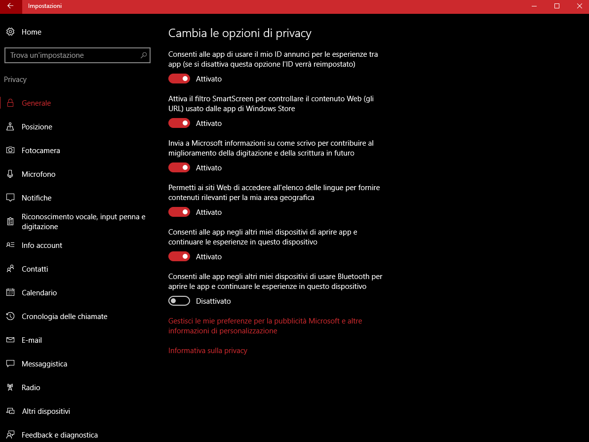 Impostazioni privacy Windows 10