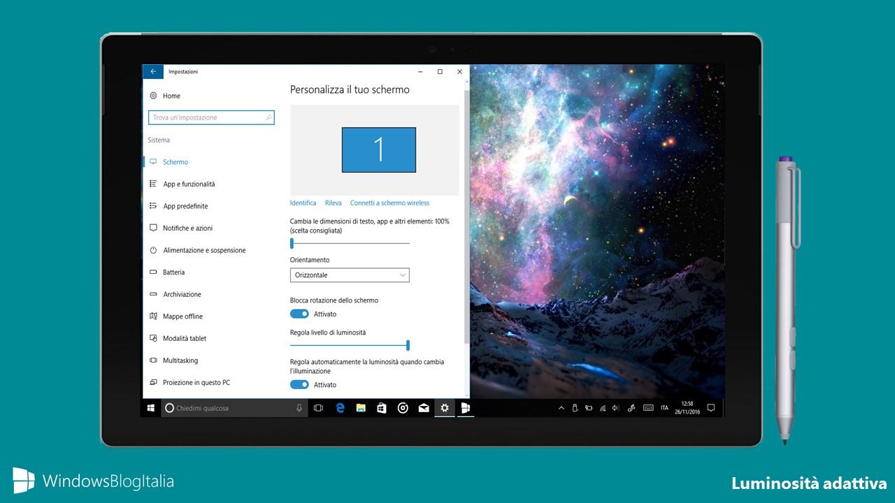 Luminosità Windows 10
