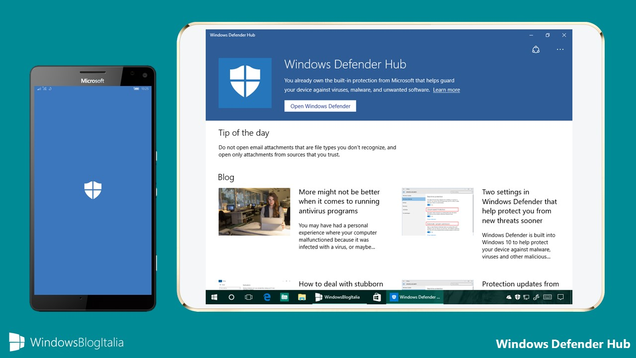 Download app windows defender hub per pc e smartphone for Window defender update