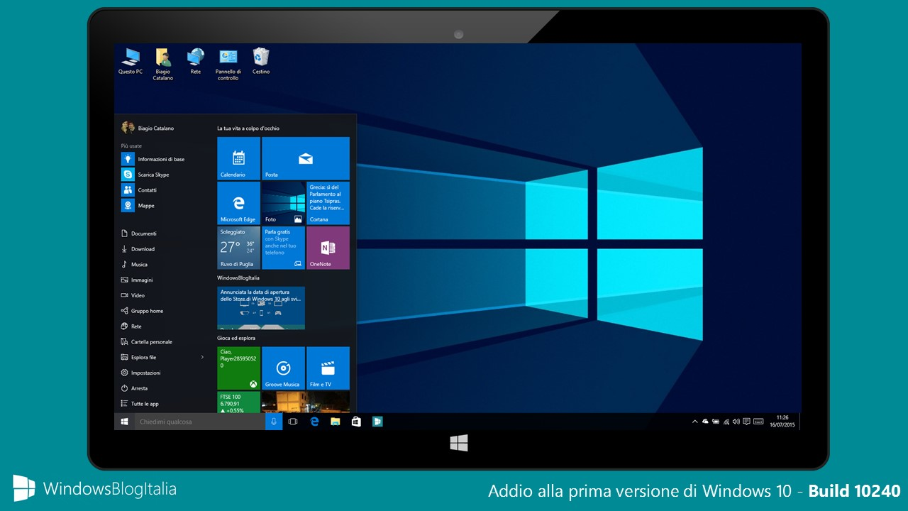 Addio alla prima versione di Windows 10 Build 10240 - Fine del supporto