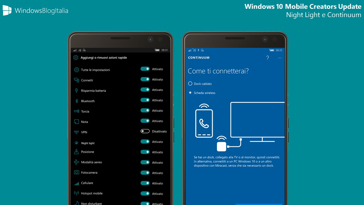 Night Light - Luce notturna - e Continuum in Windows 10 Mobile