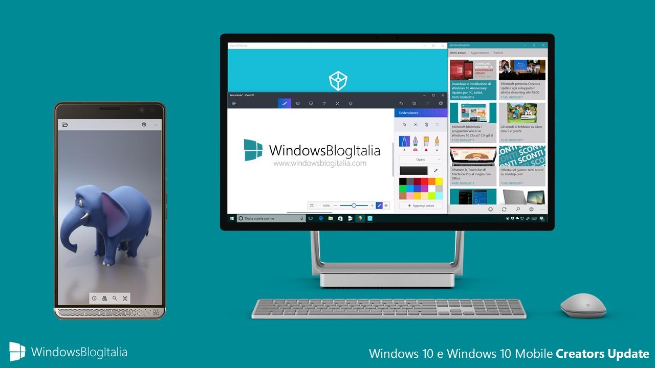 Windows 10 e Windows 10 Mobile Creators Update