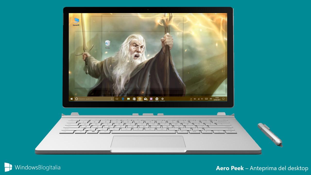 Aero Peek anteprima desktop Windows 10