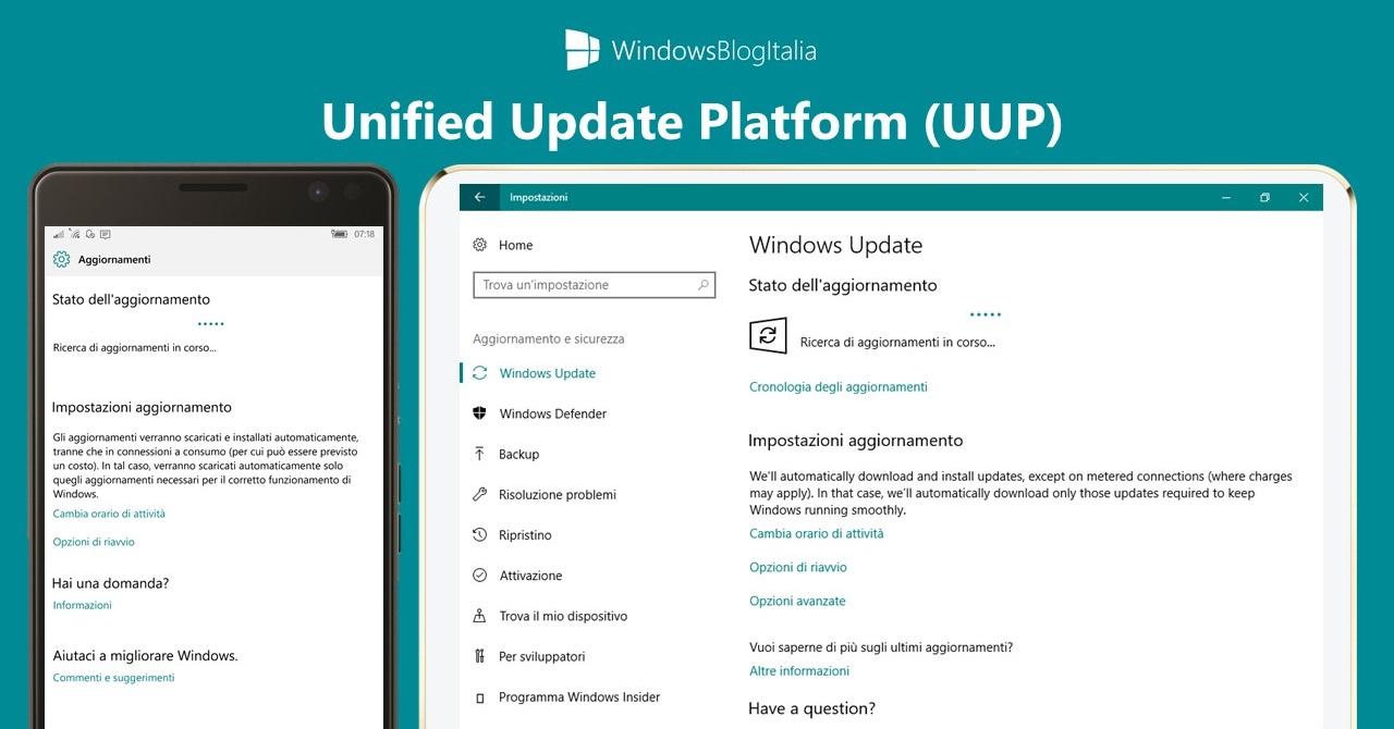 Aggiornamenti Unified Update Platform - UUP