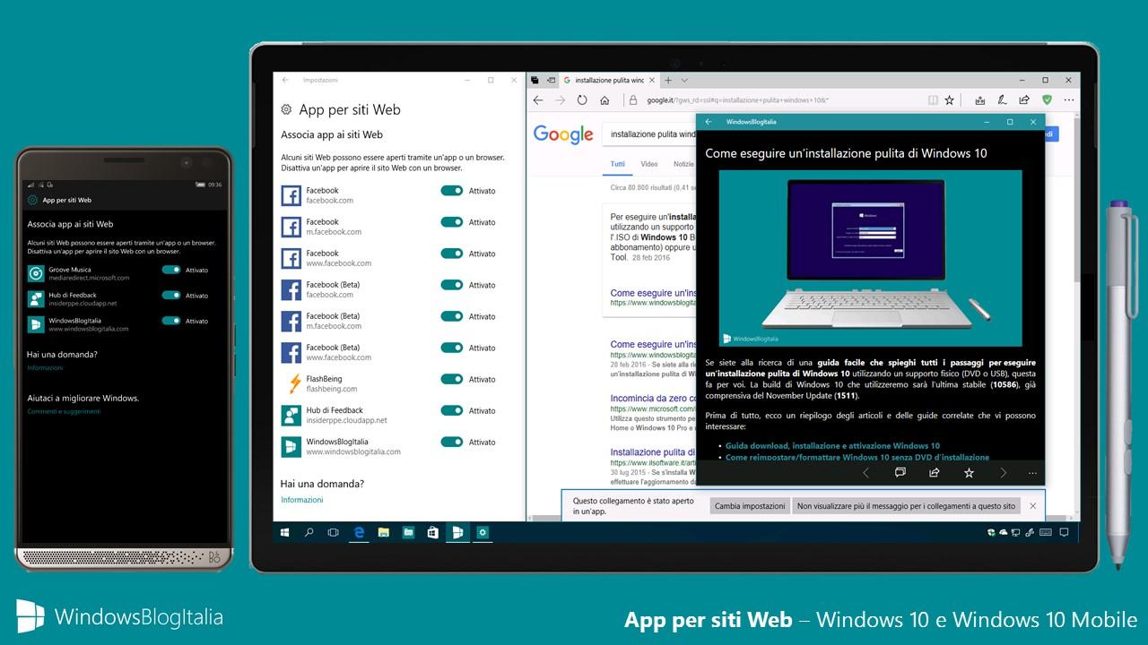 App per siti Web - Windows 10 e Windows 10 Mobile
