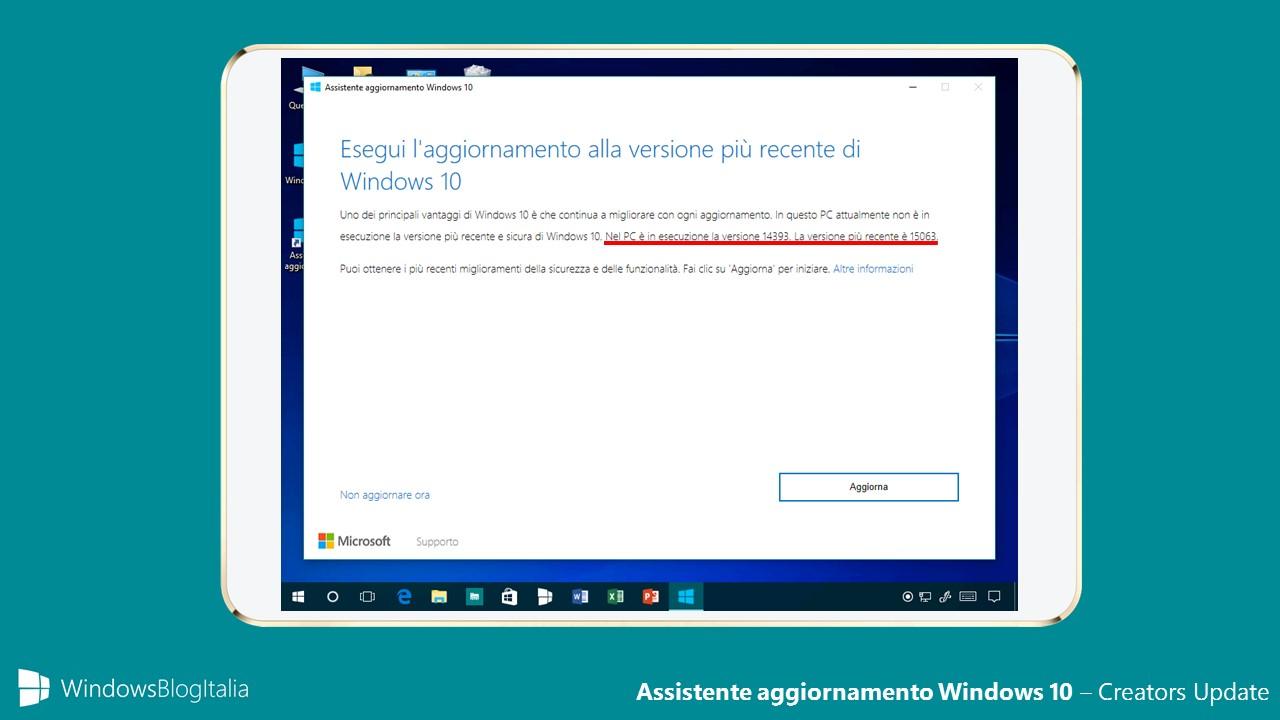 Assistente aggiornamento Windows 10 - Creators Update