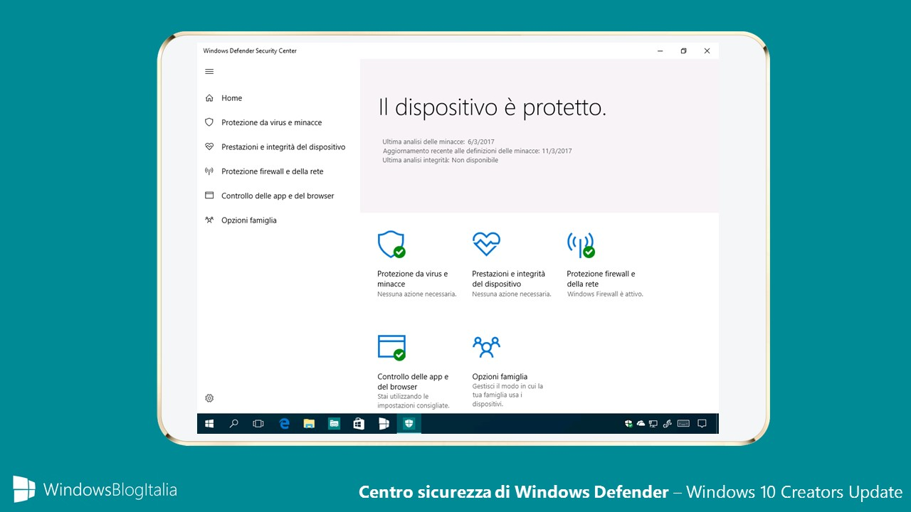 Centro sicurezza di Windows Defender - Windows 10 Creators Update