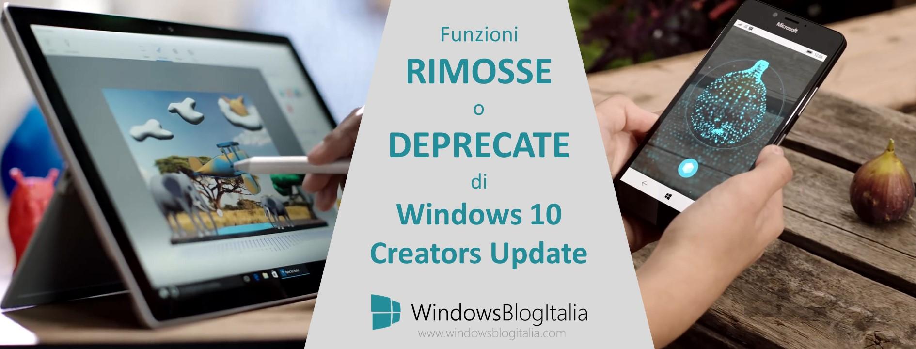 Funzioni rimosse o deprecate - Windows 10 Creators Update