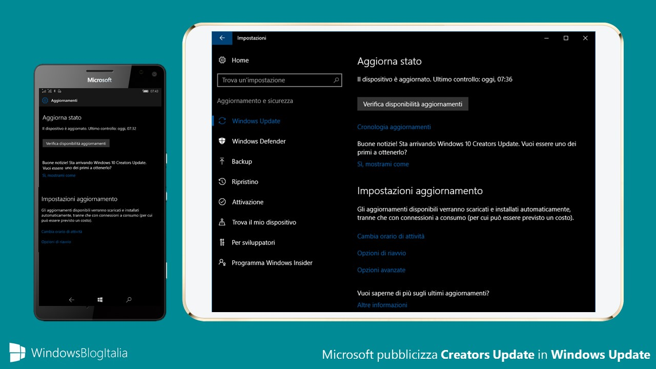 Microsoft pubblicizza Windows 10 Creators Update in Windows Update