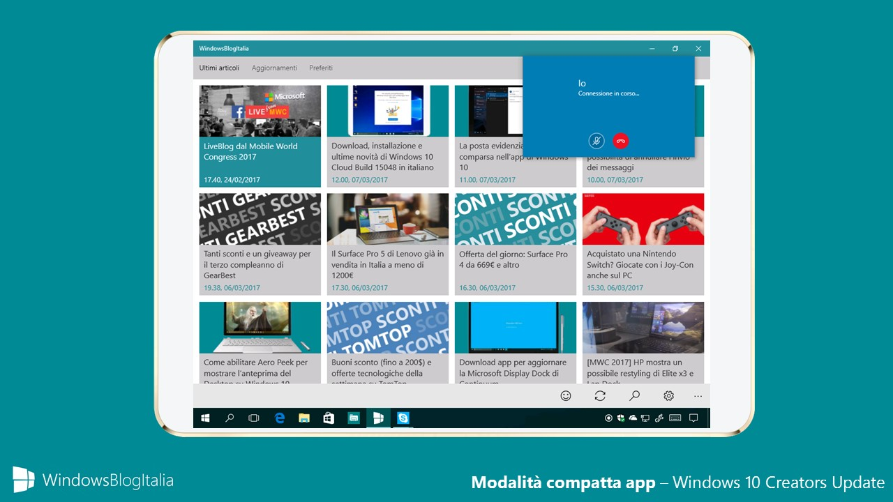 Modalità compatta app - Windows 10 Creators Update
