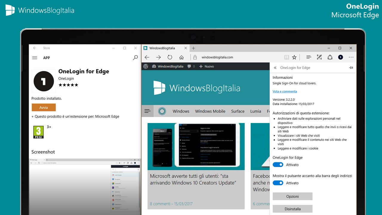 OneLogin estensione Microsoft Edge