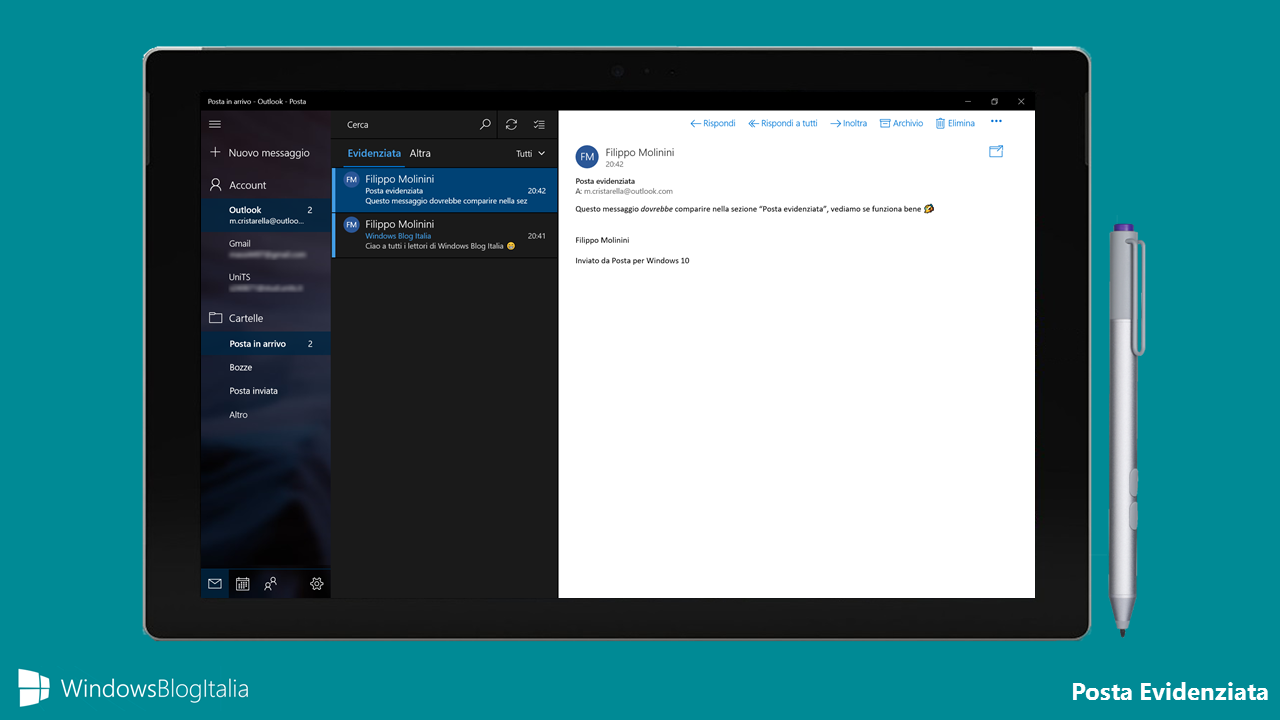 Posta evidenziata app Windows 10 Creators Update