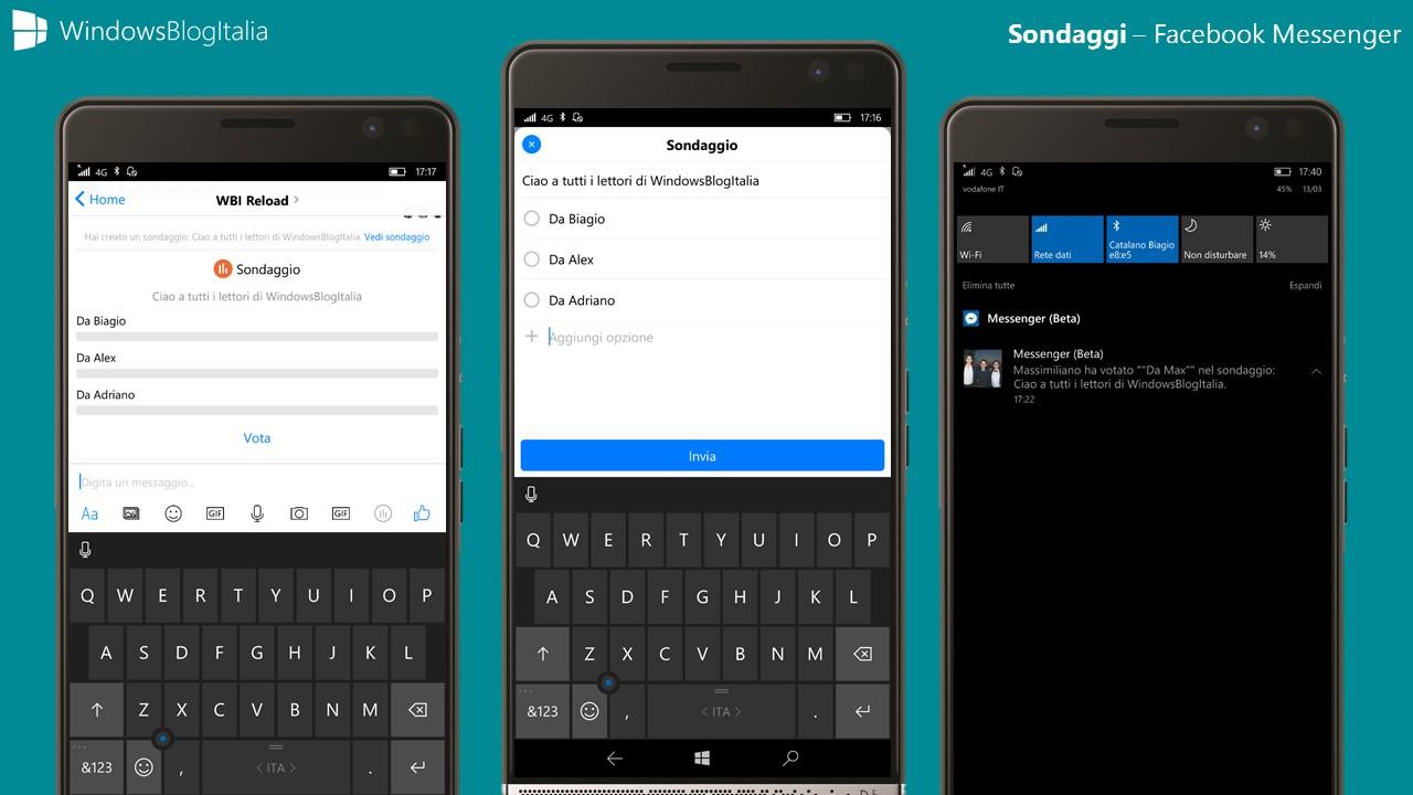 Sondaggi - Facebook Messenger - Windows 10 Mobile