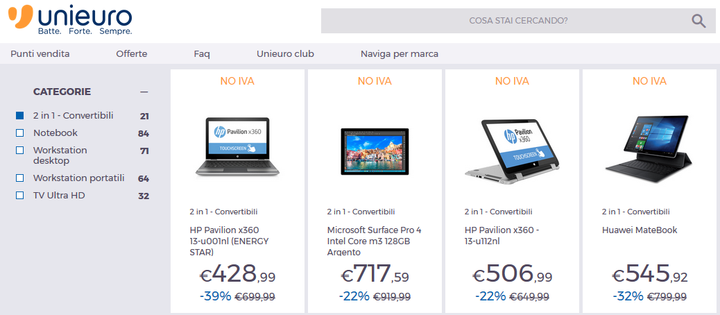 Unieuro - NO IVA - Notebook e convertibili Windows 10