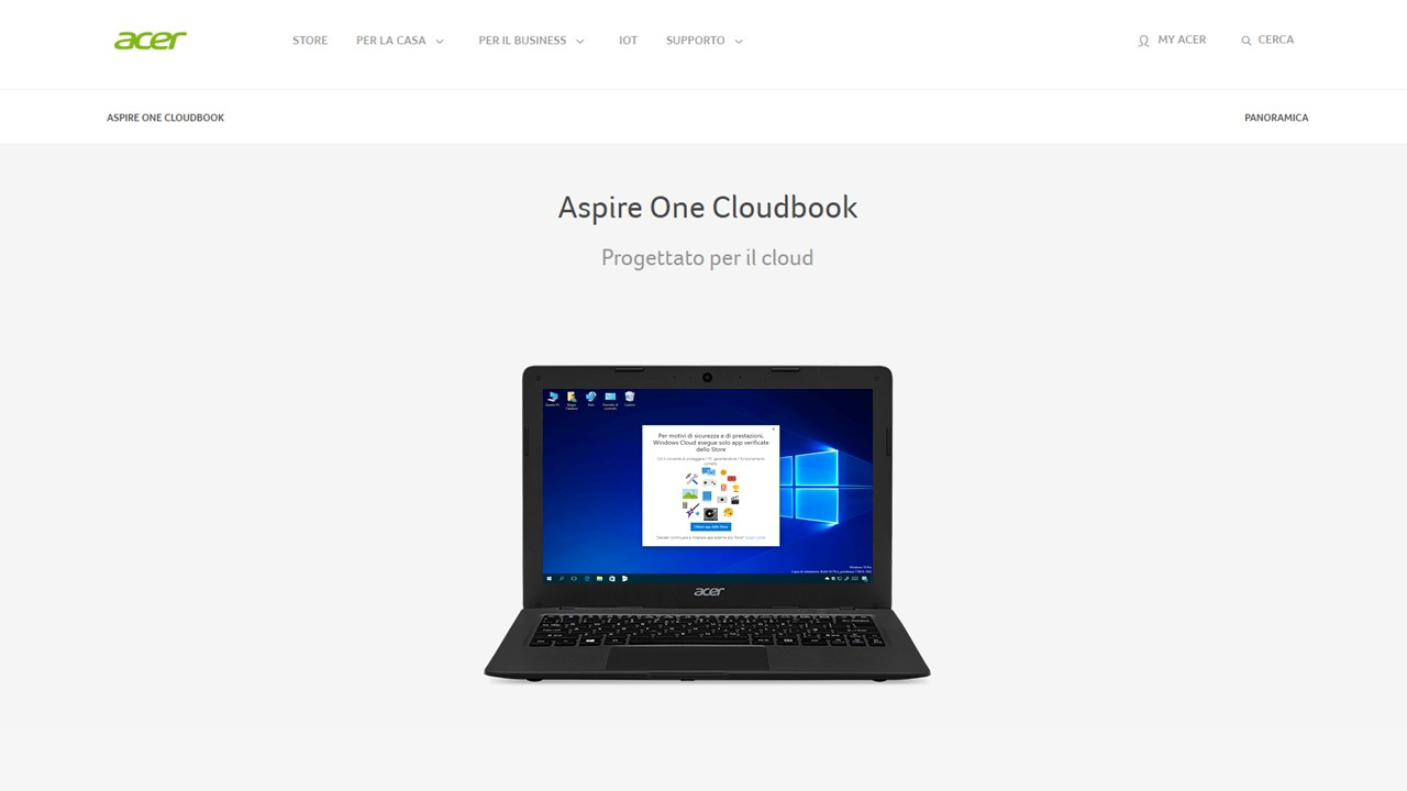 Acer Aspire One Cloudbook - Windows Cloud
