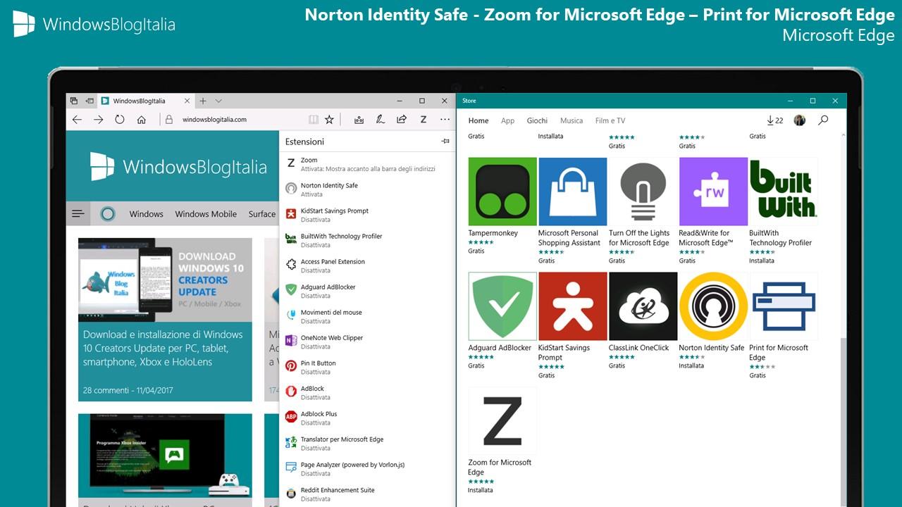 Norton Identity Safe, Zoom e Print - Microsoft Edge