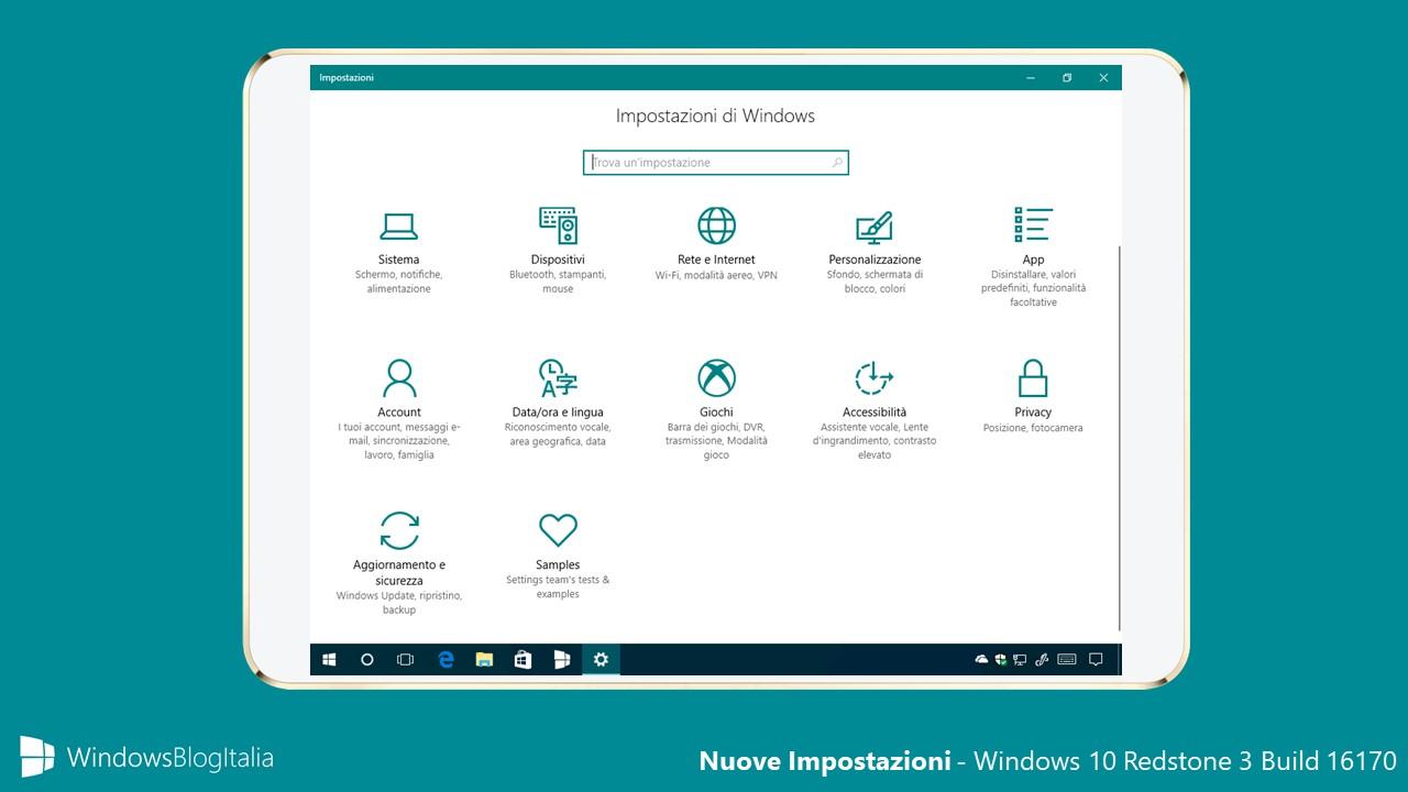 Nuove impostazioni - Windows 10 Build 16170