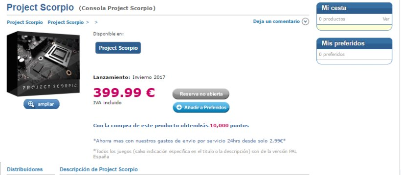 Prezzo Project Scorpio