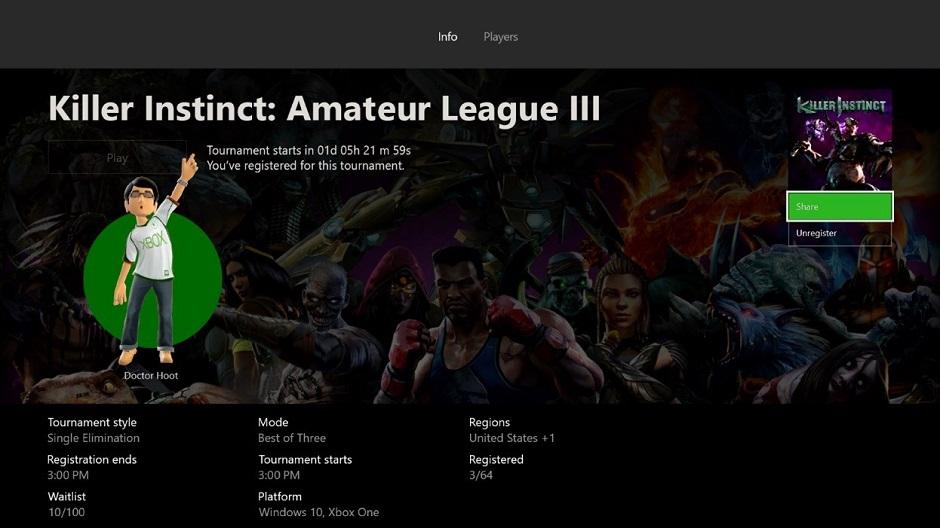 Prossimo aggiornamento Xbox One 1705 Killer Instinct Arena