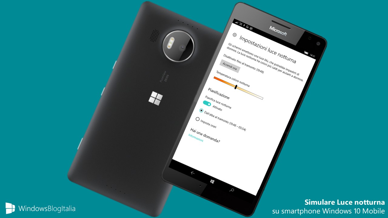 Simulare luce notturna Windows 10 Mobile