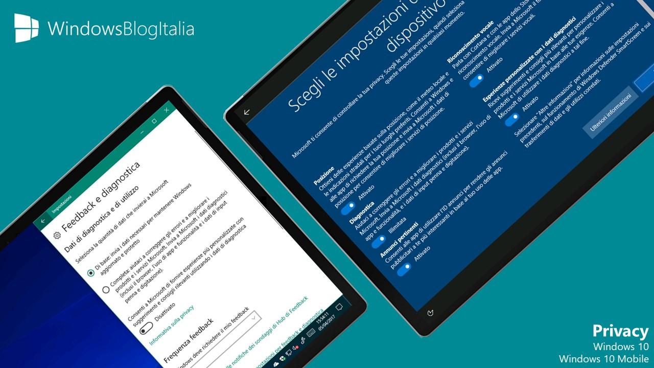 Dati raccolti da Windows 10 e Windows 10 Mobile