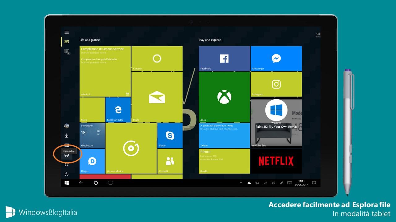 Accedere facilmente Esplora file modalita tablet