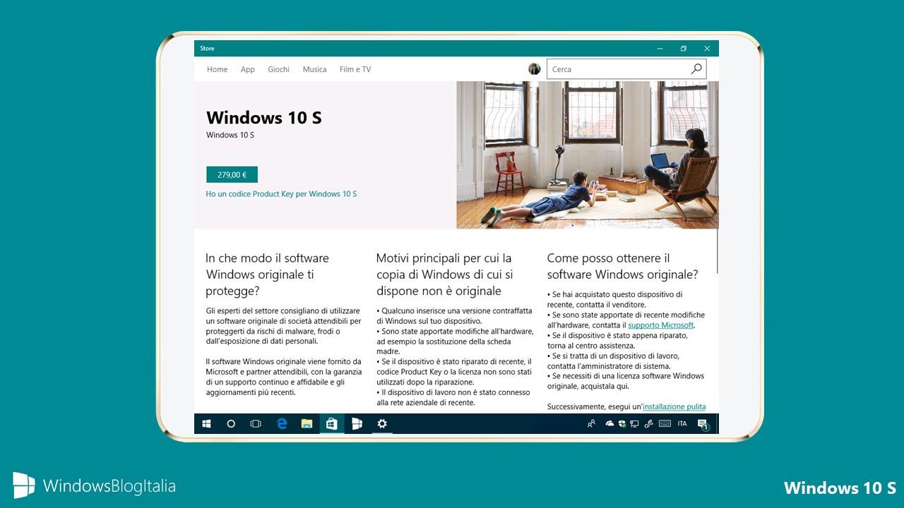 Costi licenza Windows 10 S