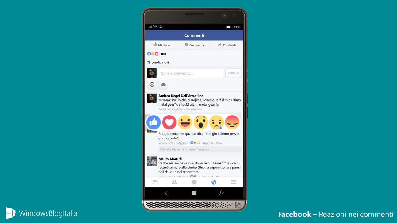 Facebook - Reazioni nei commenti