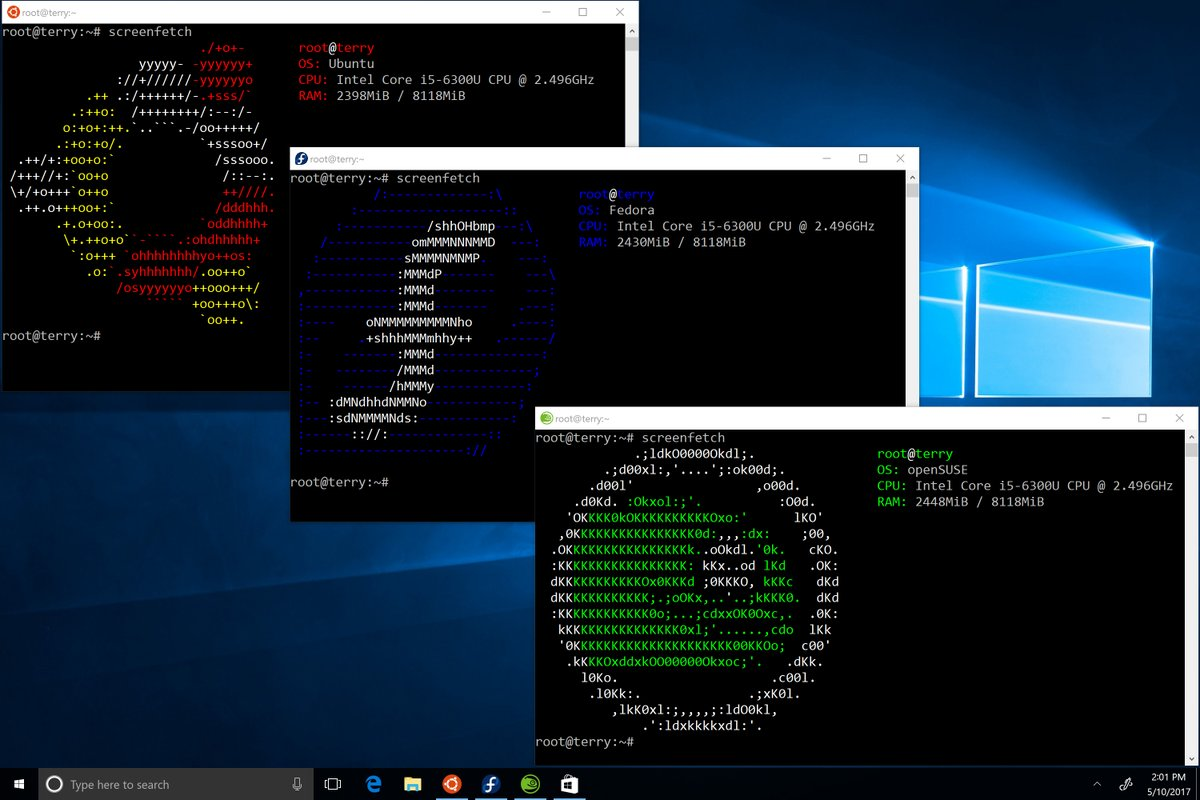 ubuntu fedora suse windows store