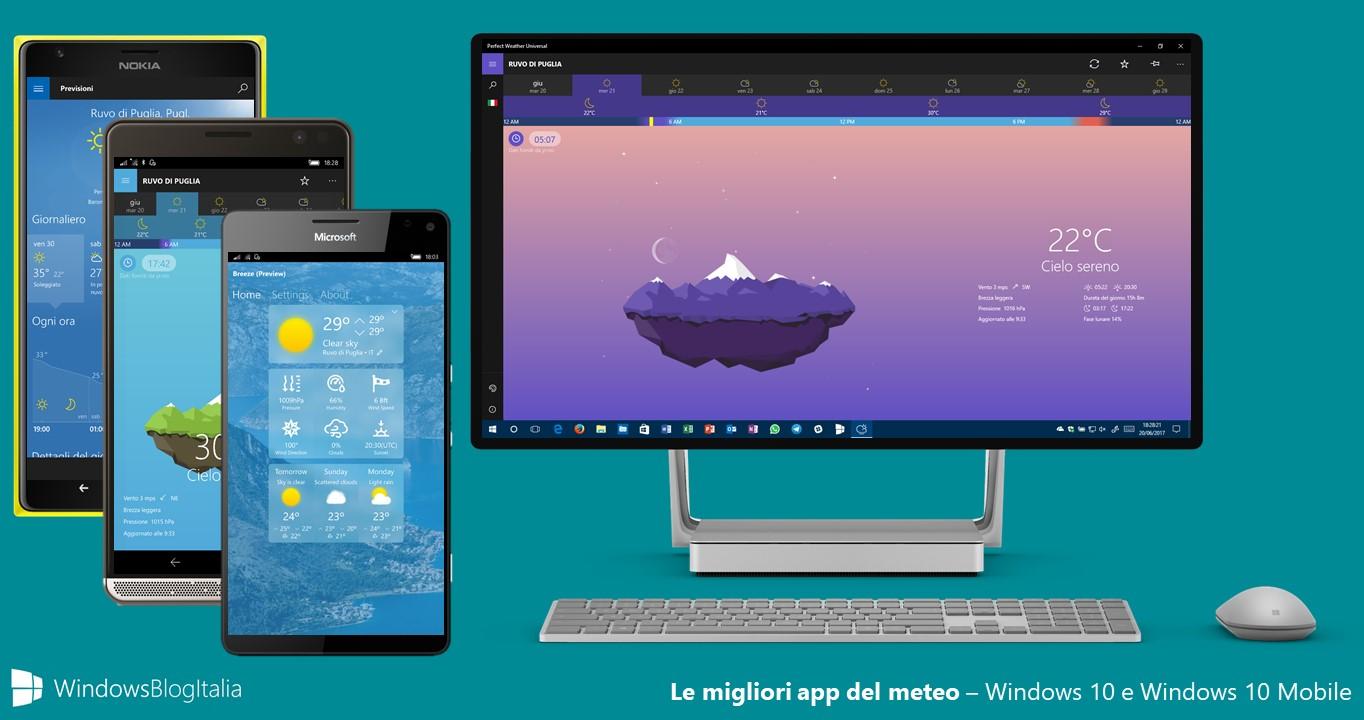 App meteo - Windows 10, Windows 10 Mobile e Windows Phone