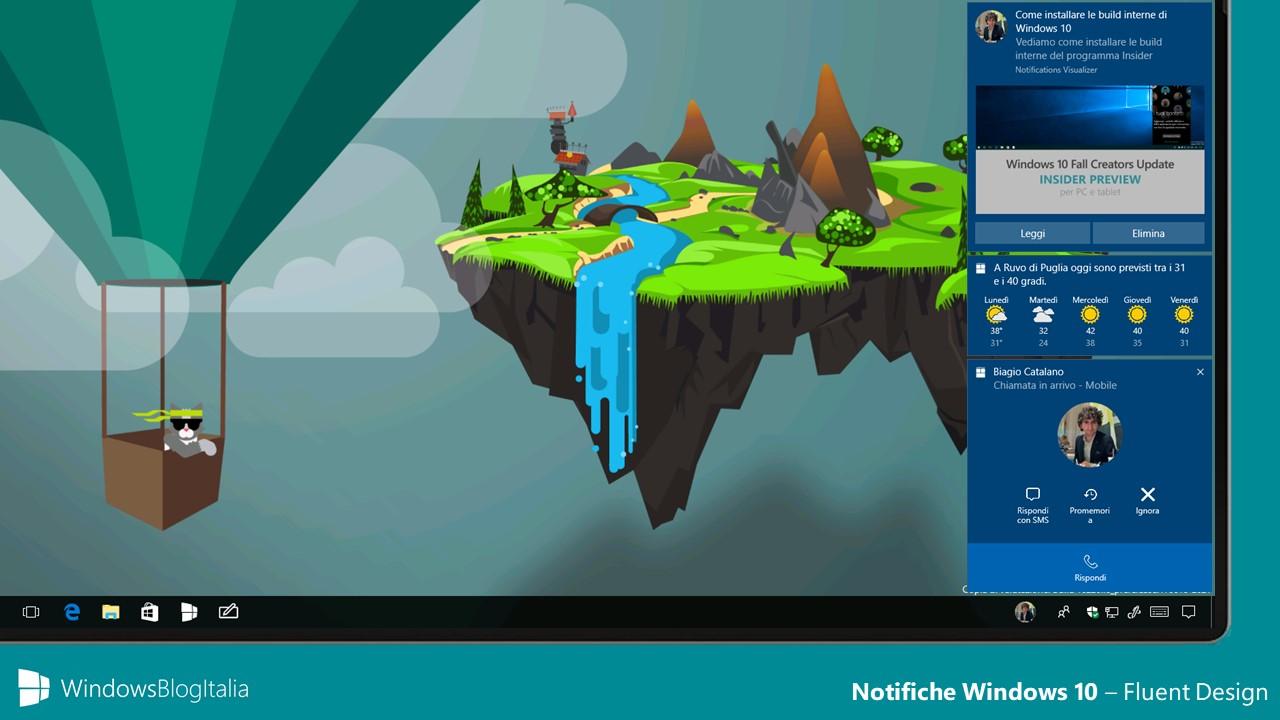 notifiche Fluent Design - Windows 10