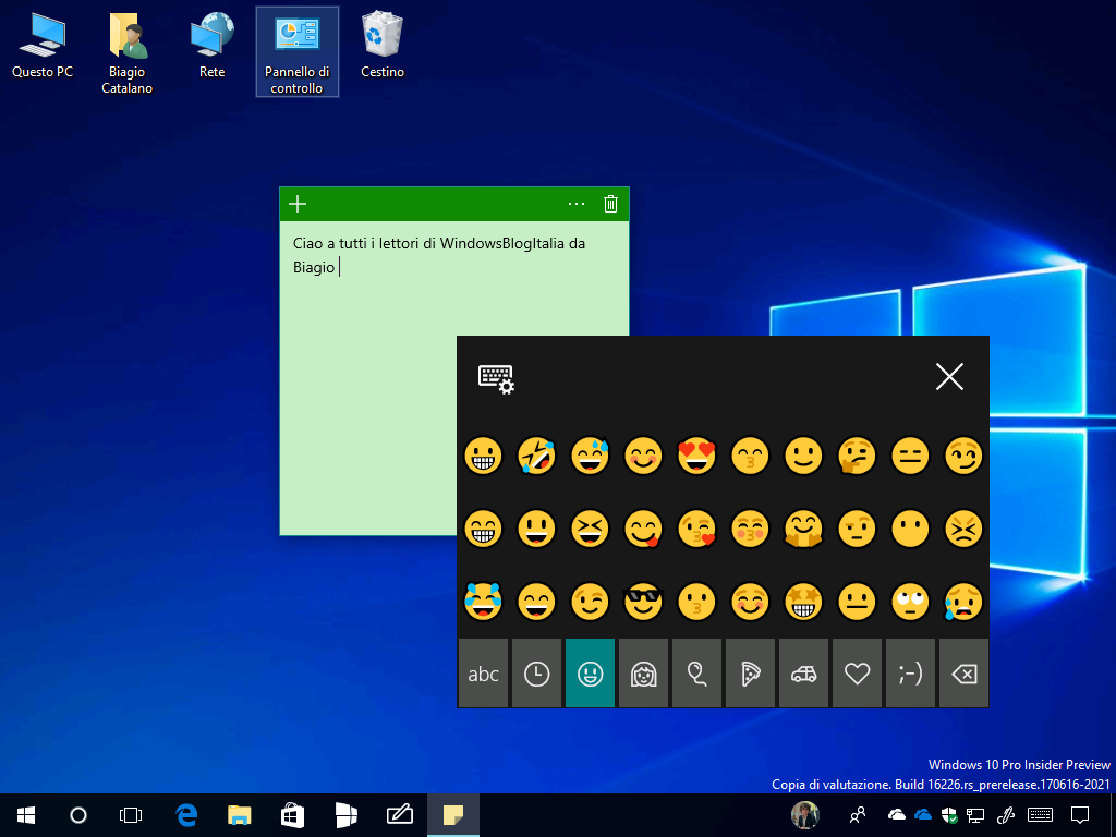 Pannello emoji - Windows 10 Build 16226